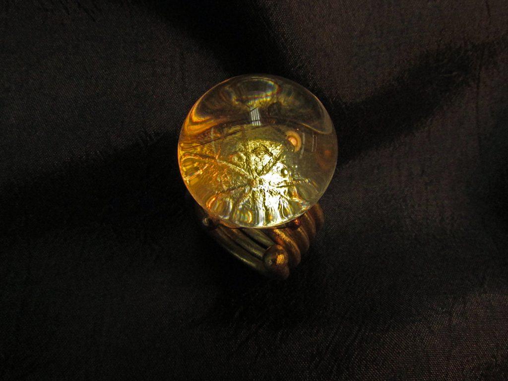 Ring  <br>2014 <br>brass, glass