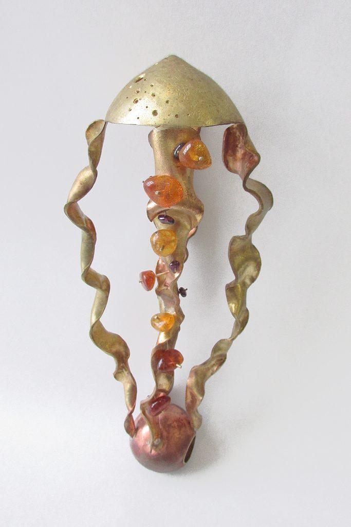 Ring  <br>2015 <br>brass, copper, amethyst, amber