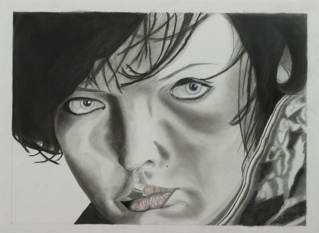 "Unisex <br>2012 <br>charcoal, graphite, colored pencil <br>18"" x 24"""