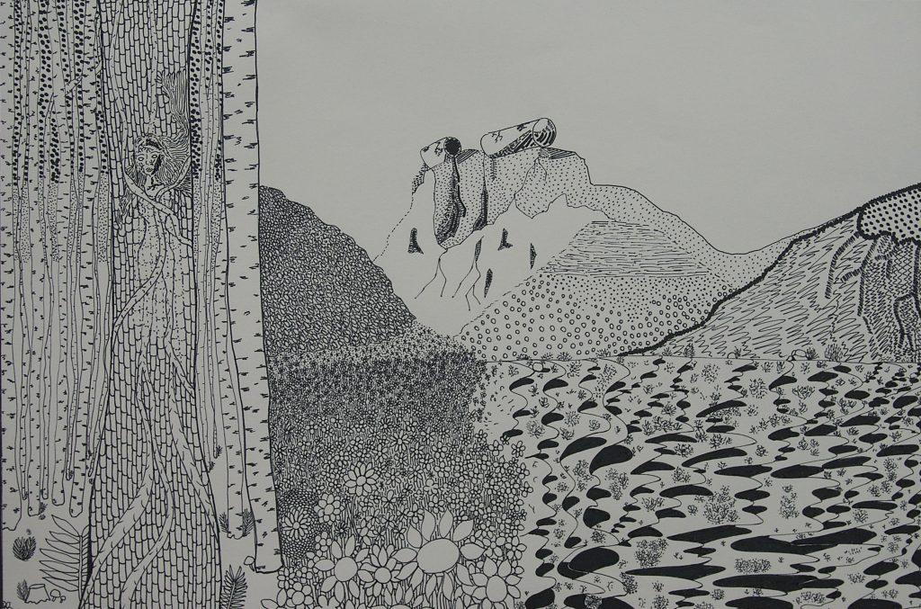"""Study of Landscape <br>2012 <br>ink <br>12.5"""" x 17"""""""