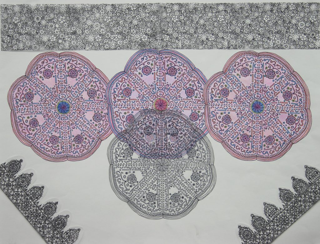 """Study of Color <br>2012 <br>ink, colored pencil, tracing paper <br>14.5"""" x 18"""""""